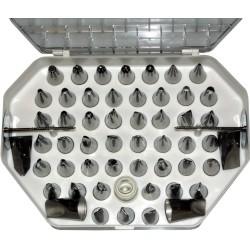 Coffret de douilles inox décors fins 55 pièces