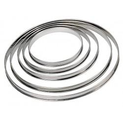 Cercle à tarte inox hauteur 2 cm bord roulé