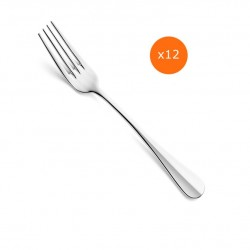 Lot de 12 fourchettes de table BAGUETTE en inox 18/0.
