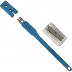 Grignette porte-lame plastique bleu + kit 25 lames